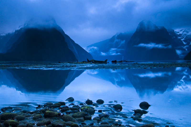 Blue dawn at Milford Sound