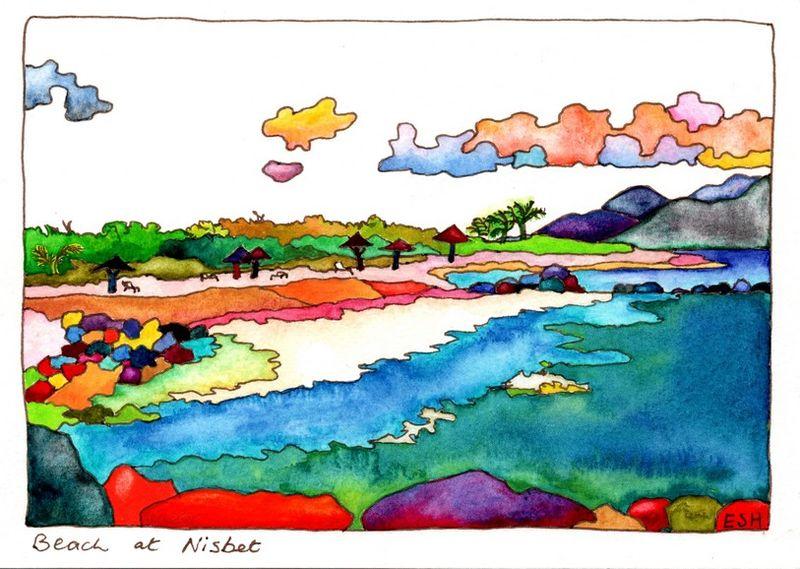 *Beach at Nisbet Nevis