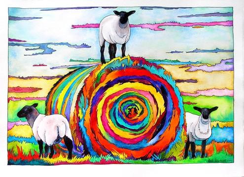Three Lambs and Bale