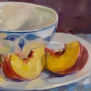 Peach Slices and Blue and White Bowl