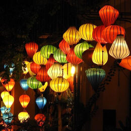 LANTERNS: Good use of square format.Bottom left to top right. Well composed and taken with a good use of colour.