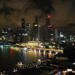 LIGHTS OF SINGAPORE: Well observed night scene of the city and well taken. Good spread of interesting shapes and colour and eye drawn to central block. Very slightly soft.