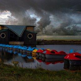 Stormy boating pond