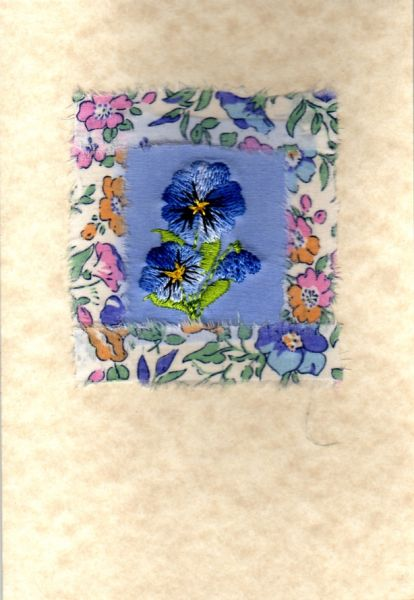 Blue pansy with Liberty print