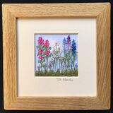 "Lupins and Hollyhocks Mount size 5""X 5"""