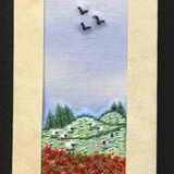 "Poppy field with sheep Bookmark card size 7""x2"""