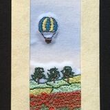 "Poppy field with air balloons Size 7""x2"""
