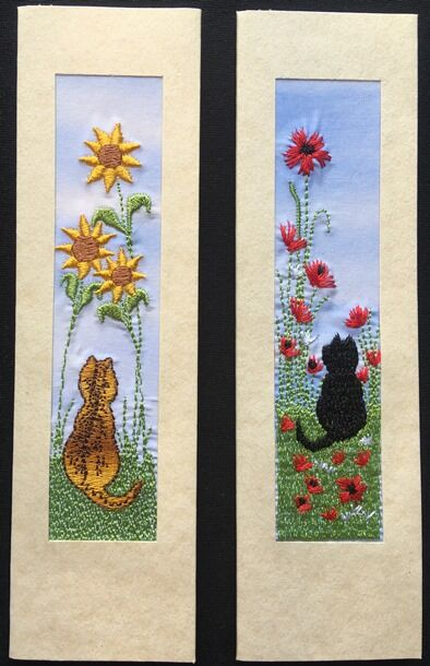 """Tabby cat with sunflowers and Black cat with poppies Size 7"""" x 2"""""""
