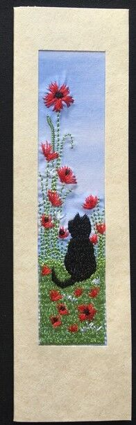 "Black cat with poppies Size 7""x2"""