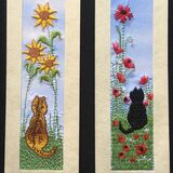 "Tabby cat with sunflowers and Black cat with poppies Size 7"" x 2"""