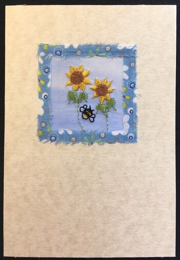 "Sunflowers with bee and fabric border Size 6""x4"""