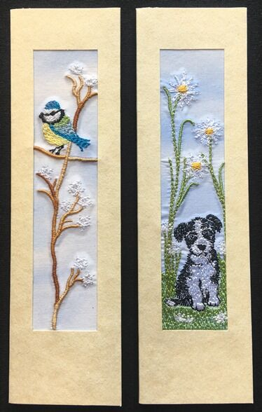 """Blue Tit and Puppy with daisies Size 7"""" x 2"""""""