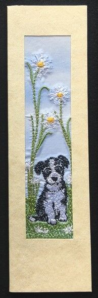 "Puppy with daisies Size 7""x2"""