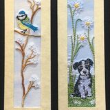 "Blue Tit and Puppy with daisies Size 7"" x 2"""