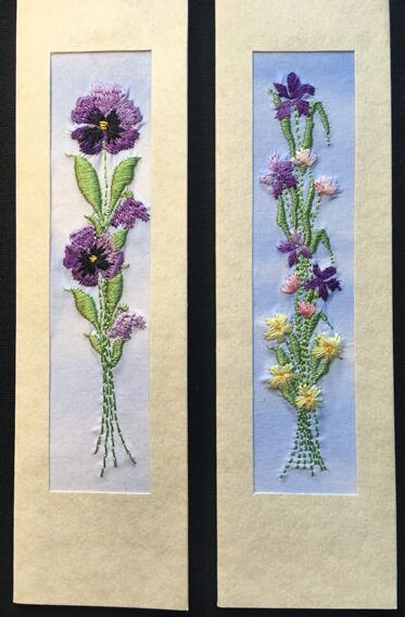 """Purple pansy and Iris with tulips Size 7""""x2"""""""