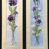 "Purple pansy and Iris with tulips Size 7""x2"""