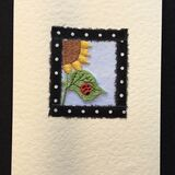 Sunflower with ladybird fabric black spot border