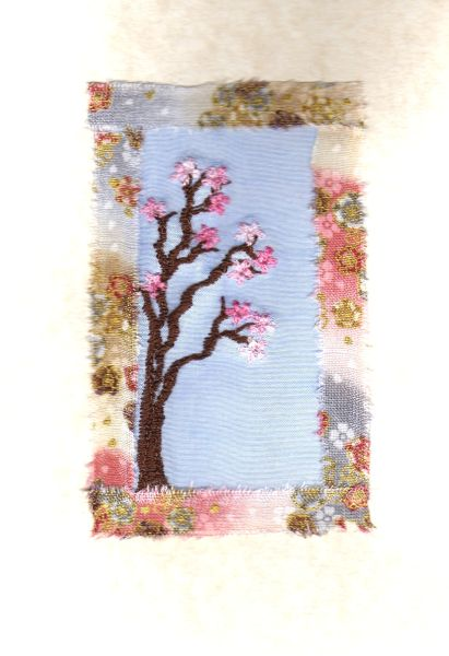 Pink blossom with oriental print