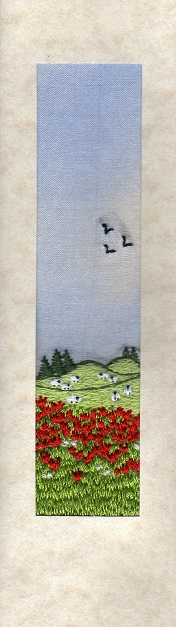 """Poppy field with sheep Bookmark card size 7""""x2"""""""