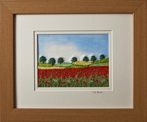 """Poppy field. Mount size 8"""" x 10"""""""