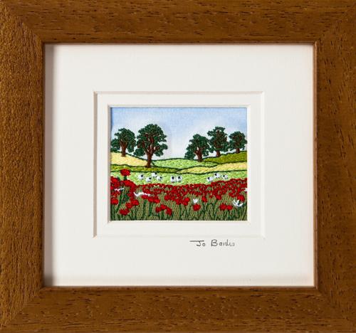"Poppy field with sheep Mount size 5.25""x4.75"""