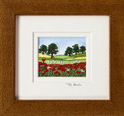 "Poppy field with sheep Mount size 5.25""x4.75"""