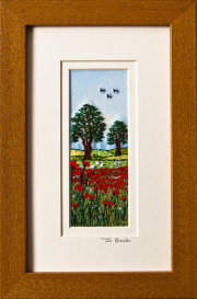 "Poppy field with sheep. Mount size 7.75"" x 4.75"""