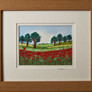 "Poppy field with sheep Mount size 8""x10"""
