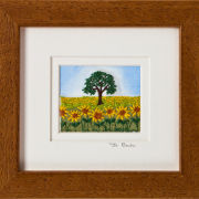 "Sunflower field. Mount size 5.25"" x 4.75"""