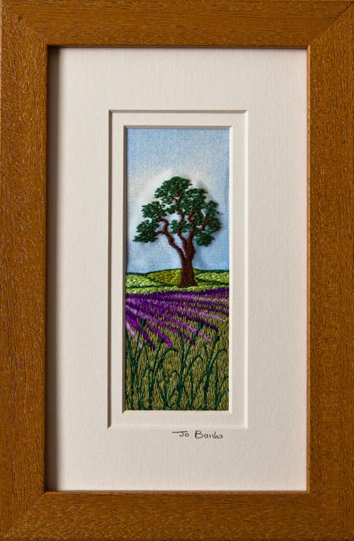 """Tree in lavender field. Mount size 7.75"""" x 4.75"""""""