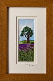 "Tree in lavender field. Mount size 7.75"" x 4.75"""