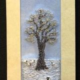 "Sheep in snow landscape Size 7""x2"""