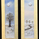 "Tree in winter and Winter landscape with sheep Size 7""x2"""