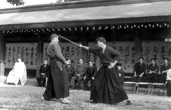 Quintin Chambers Sensei and Donn Draeger Sensei at the Meiji Shrine Circa 1970