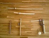 Wood weapons used in Jodo practice