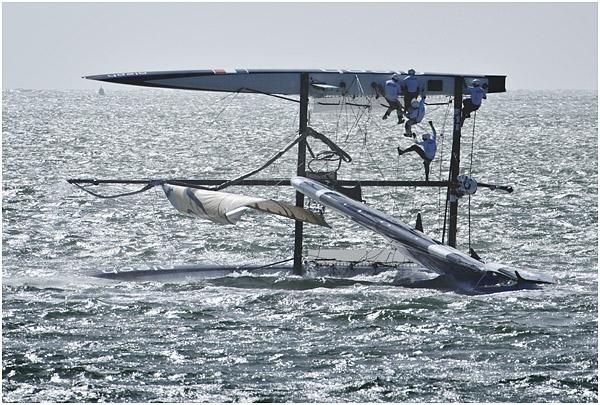 America's Cup - Aleph capsized