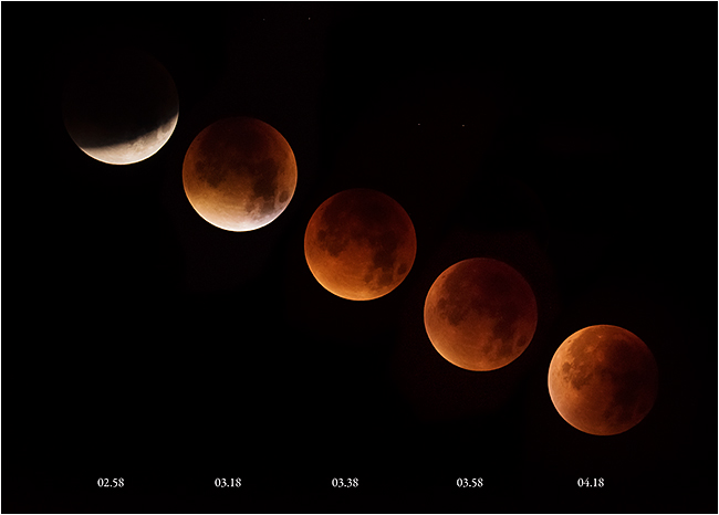 Stages in the eclipse of the supermoon