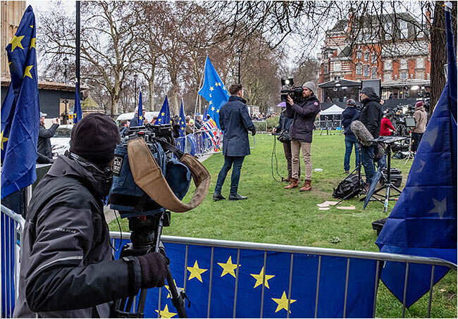 Media circus on College Green, Westminster after final EU vote