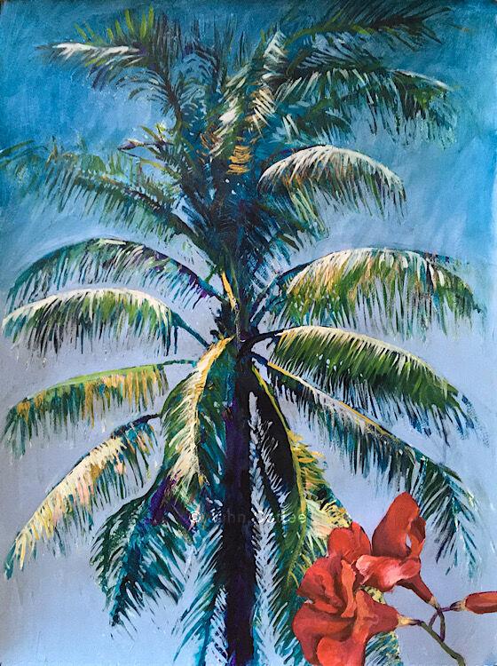 Palm & mandevilla