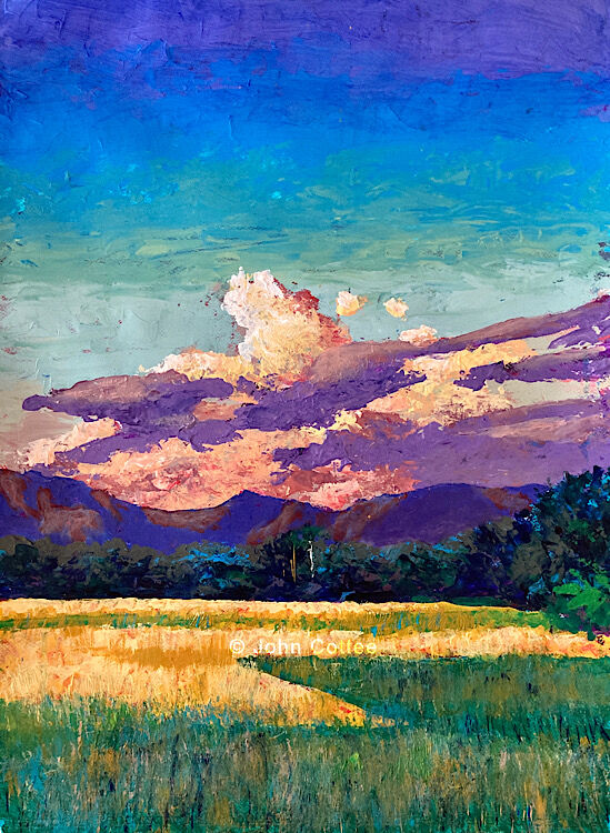 Clouds mountains rice