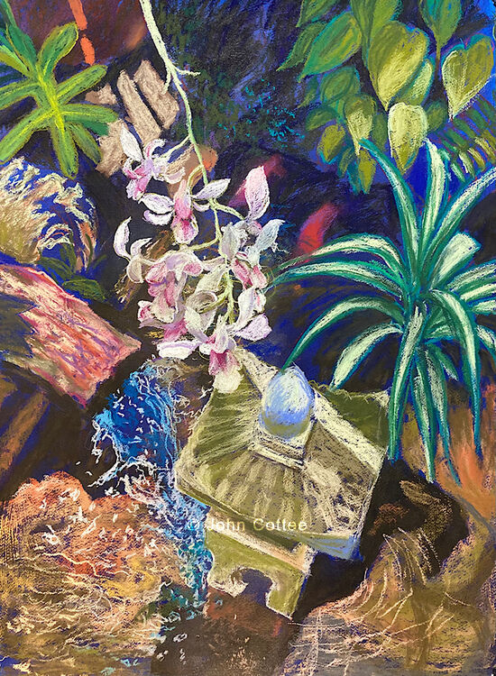 Pond with orchids