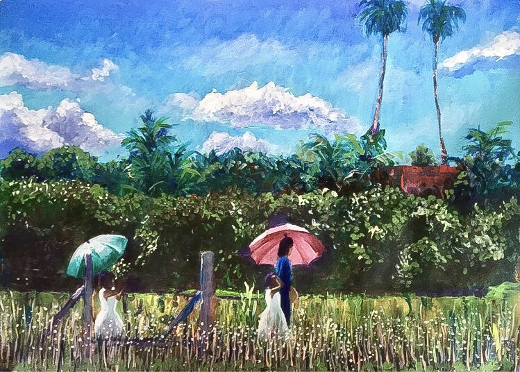 Stroll with parasols