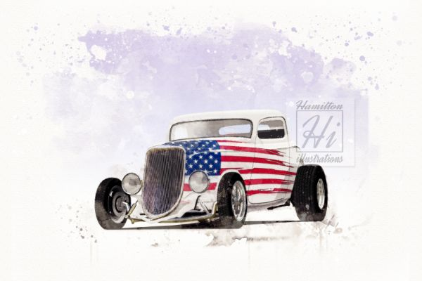 1934 Ford US Flag illustration