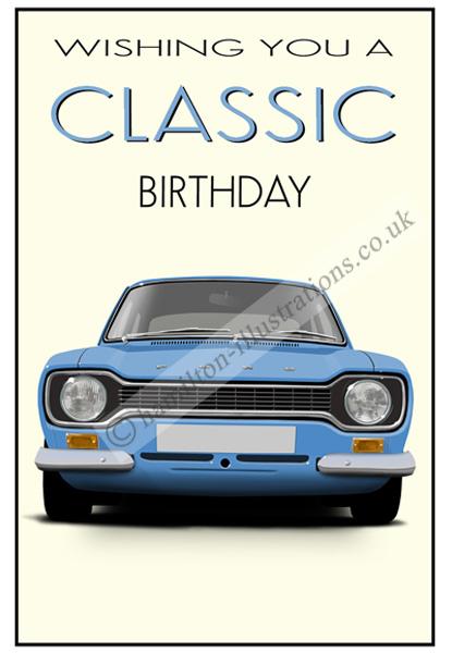 Escort Mk1 Classic Card Blue CF124