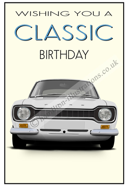 Escort Mk1 Classic Card White CF122