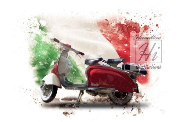 Lambretta Li Watercolor Style