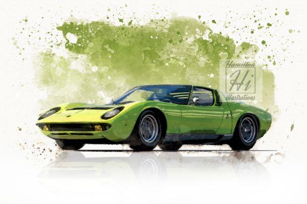 Lamborghini Miura Watercolour style Green