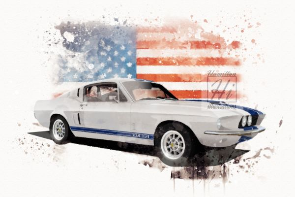 Mustang GT500 WHITE Watercolour