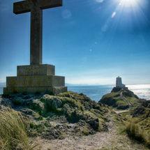 St Dwynwen's cross on Llanddwyn Island
