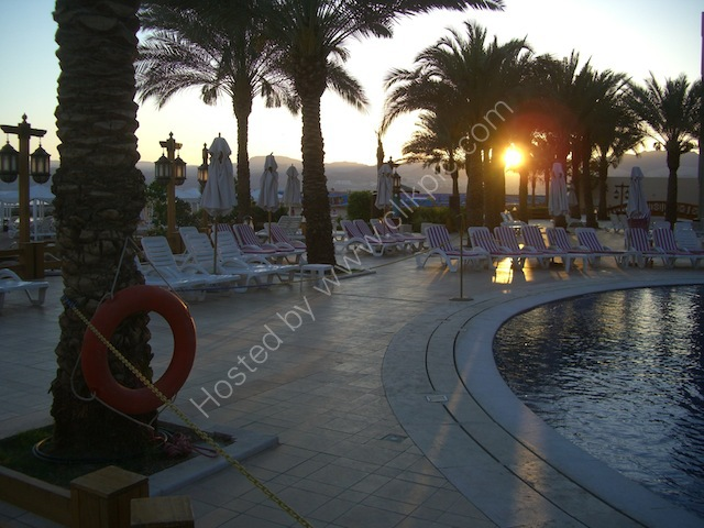 Sunset over Aqaba Intercontinental Hotel Pool